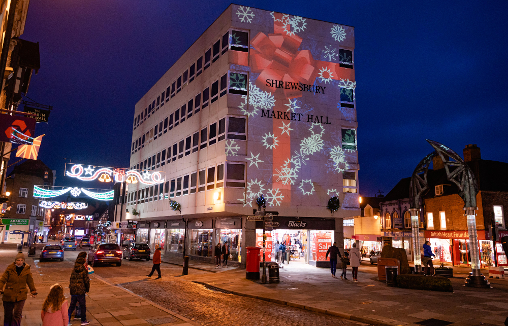 Christmas lights projected on to Shrewsbury Market Hall